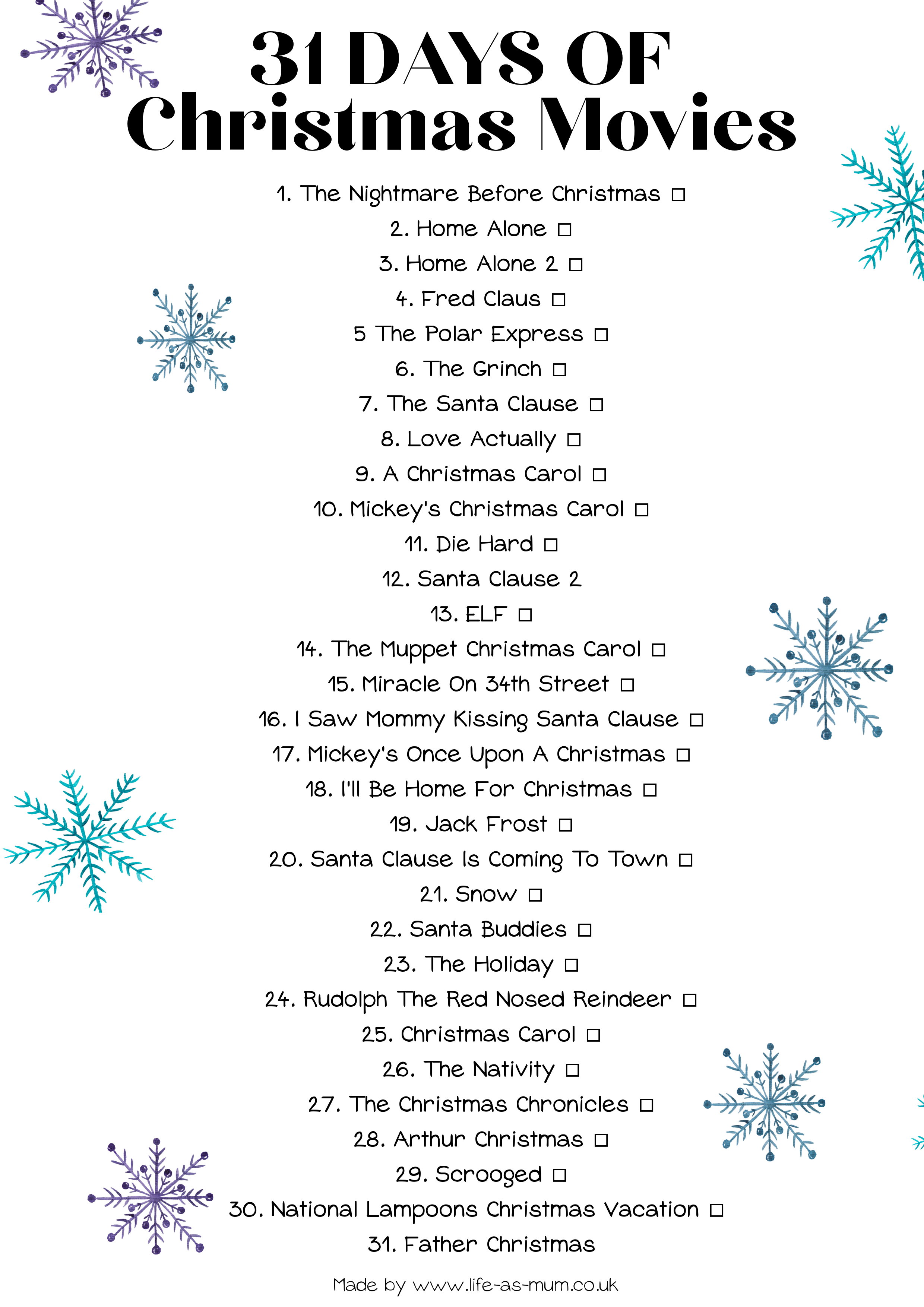 A list of Christmas Movies! Watch one every day throughout