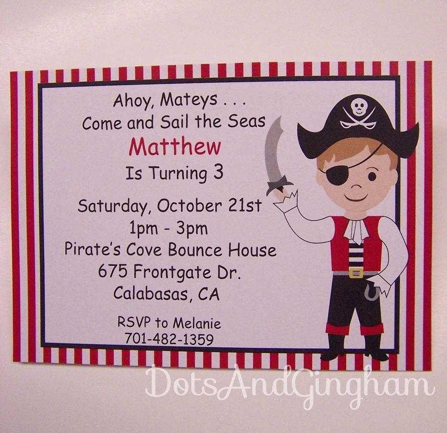 Pirate Invitation-Pirate Party-Pirate Birthday Invitation-Pirate Party Invitation-Printable Pirate Invitation. $12.00, via Etsy.