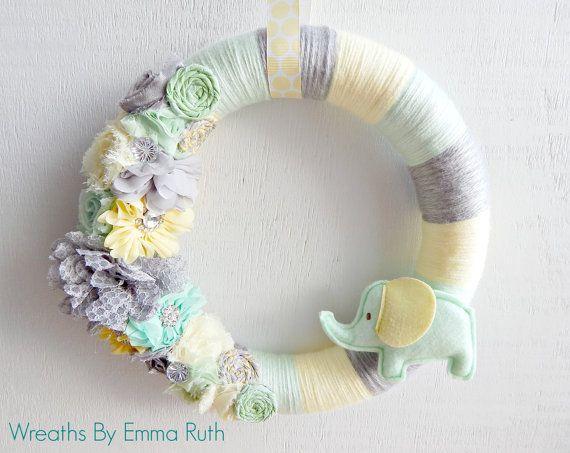 Wrapped Yarn Wreath Neutral Baby Elephant by WreathsByEmmaRuth