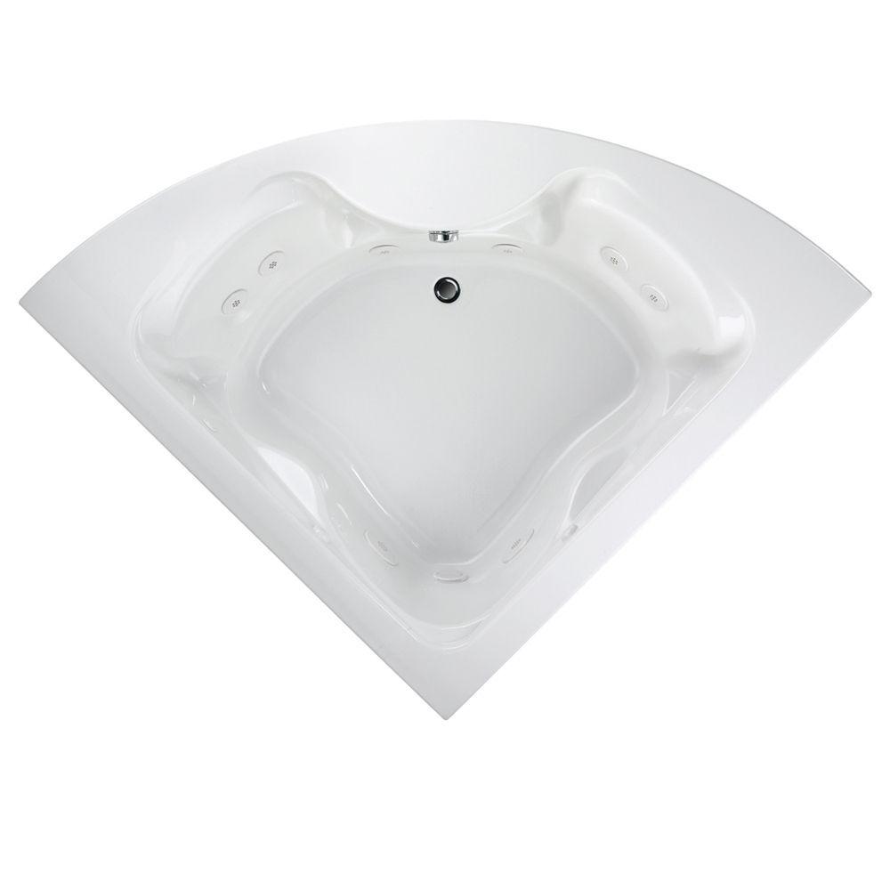 American Standard Cadet 5-Foot Corner EverClean White Whirlpool Tub ...