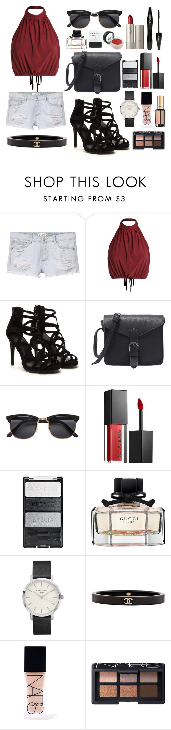 """""""Casual Morning Summer Night"""" by sugarbelle22 ❤ liked on Polyvore featuring MANGO, Lancôme, Ilia, Smashbox, Gucci, Chanel, NARS Cosmetics, L'Oréal Paris and Herbivore"""