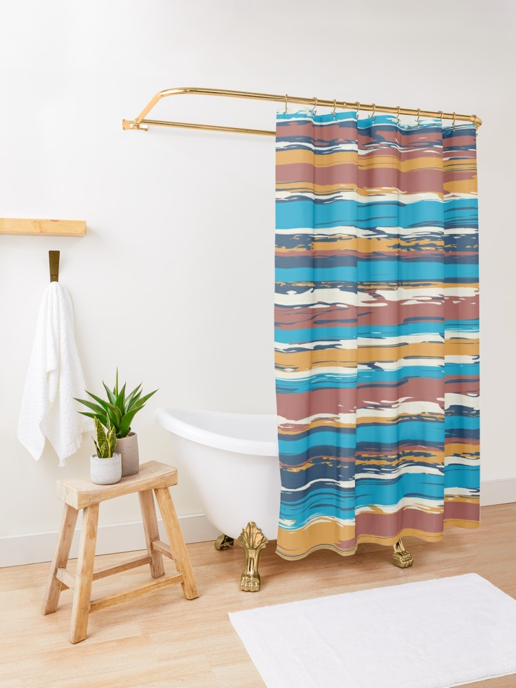 Crazy Stripes Shower Curtain By Okopipidesign Redbubble