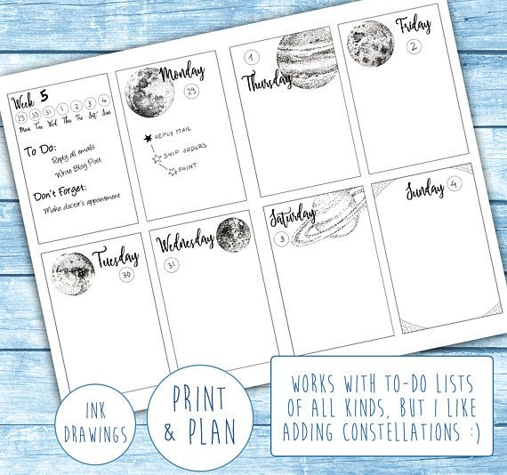 Planets  Space Weekly Planner Layout PRINTABLE Bullet Journal
