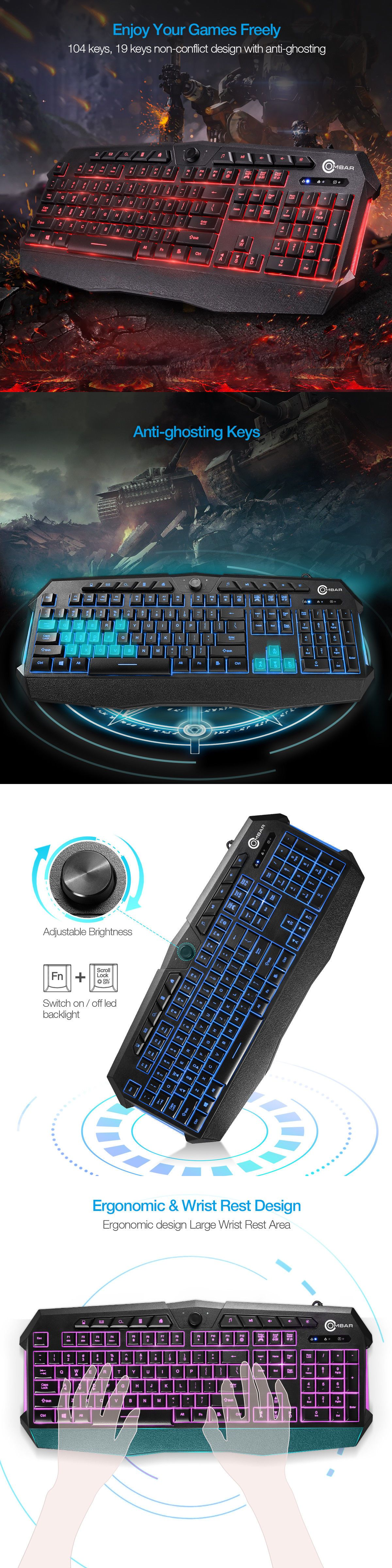 7d833b285dd Keyboard and Mouse Bundles 47779: Backlit Gaming Keyboard Adjustable 3  Colors Led Light Gamer Usb Wired Keyboard -> BUY IT NOW ONLY: $20.99 on  #eBay ...