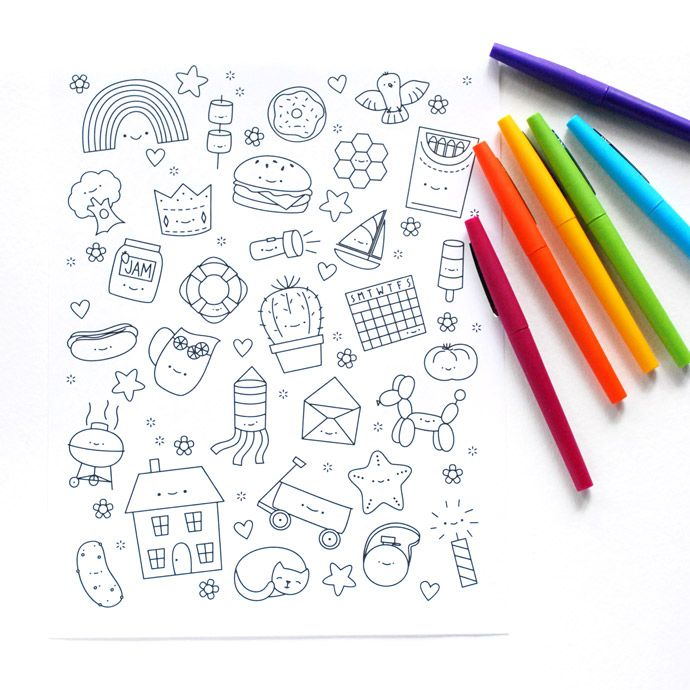 Free Printable Kawaii Coloring for All Ages // wild olive ...