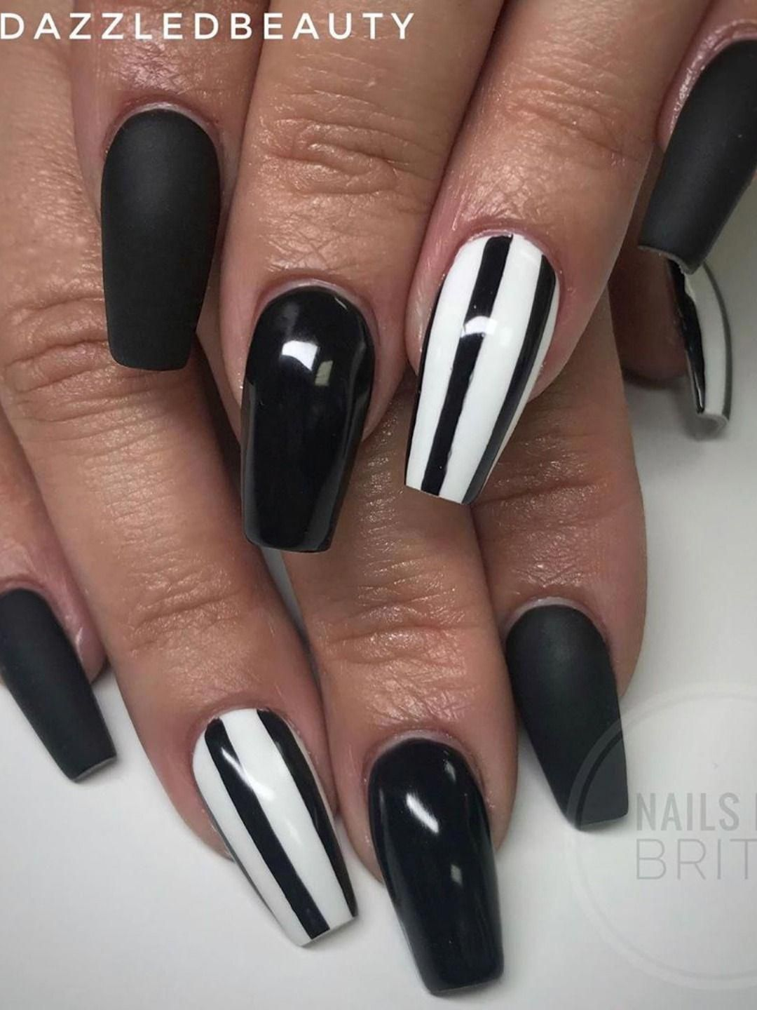 Beautiful Nail Art Design Consists Of Matte Black Coffin Nails Shiny Black Coffin Nails With An Acc White And Silver Nails Black Nail Designs White Tip Nails