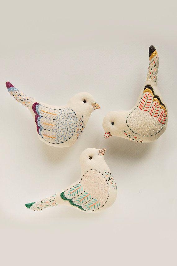 Bird #1, bird toys, embroidered bird, mothers day gift, bird wall hanging, bird soft sculpture, bird lover gift