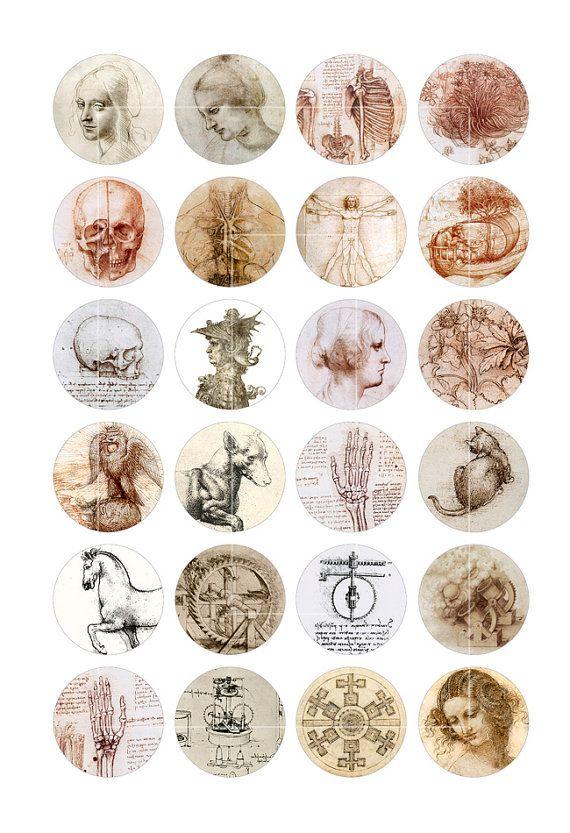 Leonardo Da Vinci Circle images for Bottle caps, Jewelry Making 1.313 inch 1 inch, 25mm, 1.5 inch Digital Collage Sheet - Printable Download