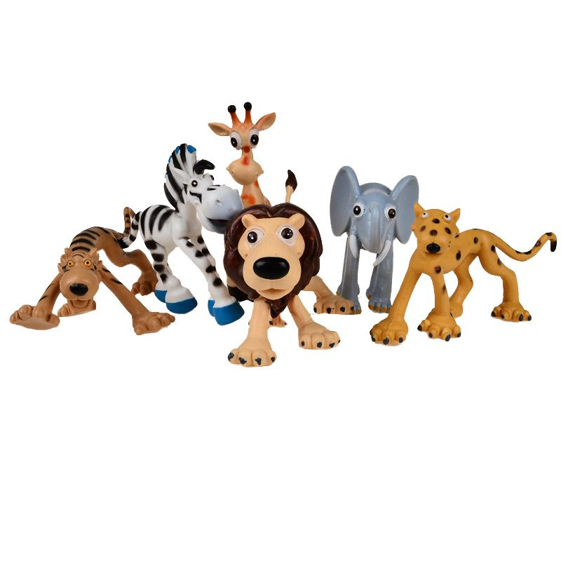 6 Pcs Cute Action Figures Toy Cartoon Jungle Forest Animal Kingdom Elephant Dinosaur Farm Poultry Lions And Tigers Pr Animal Action Animal Dolls Cute Animals