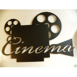 Cinema Word On Movie Projector Home Theater Decor Metal Wall Art Home Theater Decor Home Movie Projector Movie Room Decor