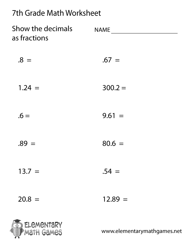 Free Printable Decimals Worksheet for Seventh Grade   7th grade math  worksheets [ 1035 x 800 Pixel ]