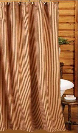 Amazon Com Shower Curtain York Ticking Barn Red Stripes