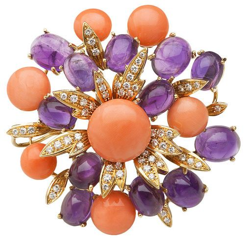 Cabochon Amethyst, Coral, and Diamond Brooch,  late 60s