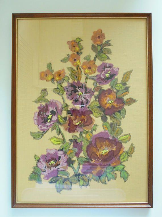 Textile wall art original art quilt flower quilt needlework framed ...