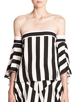 c11b88fffda99a MILLY - Rosa Striped Off-The-Shoulder Top