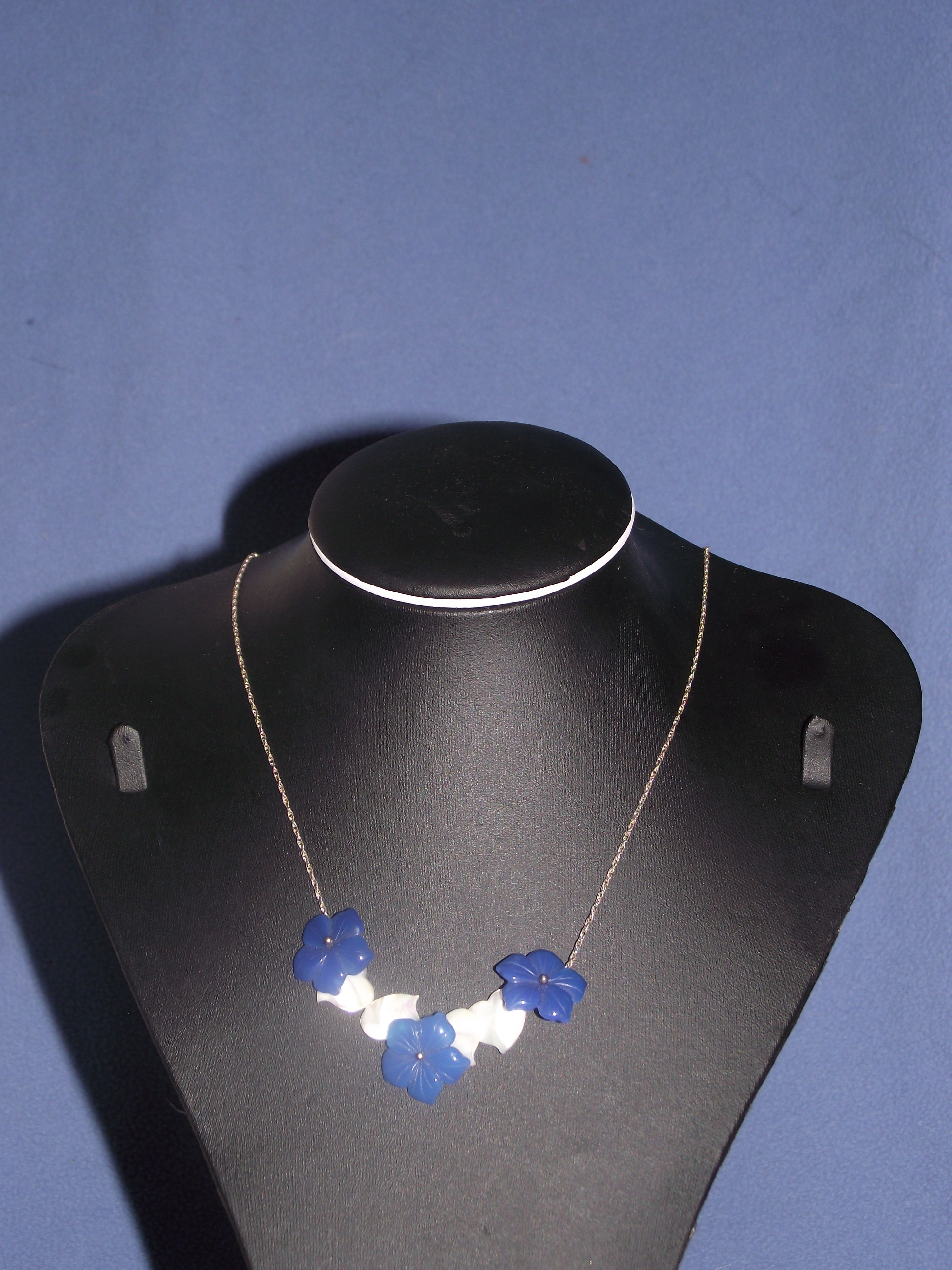 silver chain with mother of pearl hearts and blue agate flowers