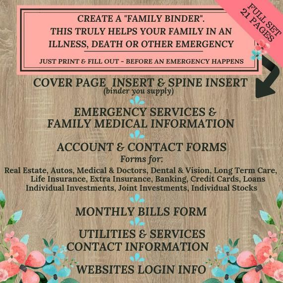 Family Binder ~ Important Documents ~ 21 Forms PLUS cover page ~ Have this information ready in case of any emergency or life event #importantdocuments