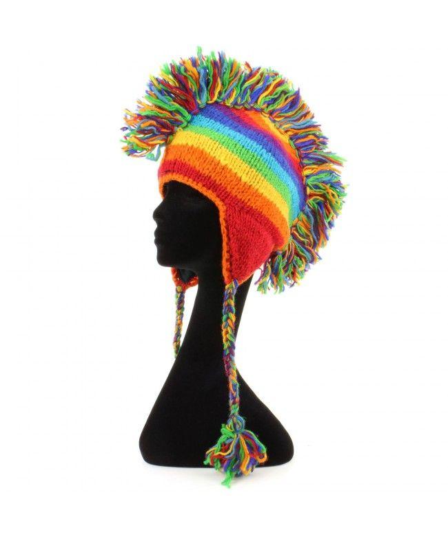 LOUDelephant \'Punk\' wool knit Mohawk hat - Rainbow stripe   All ...
