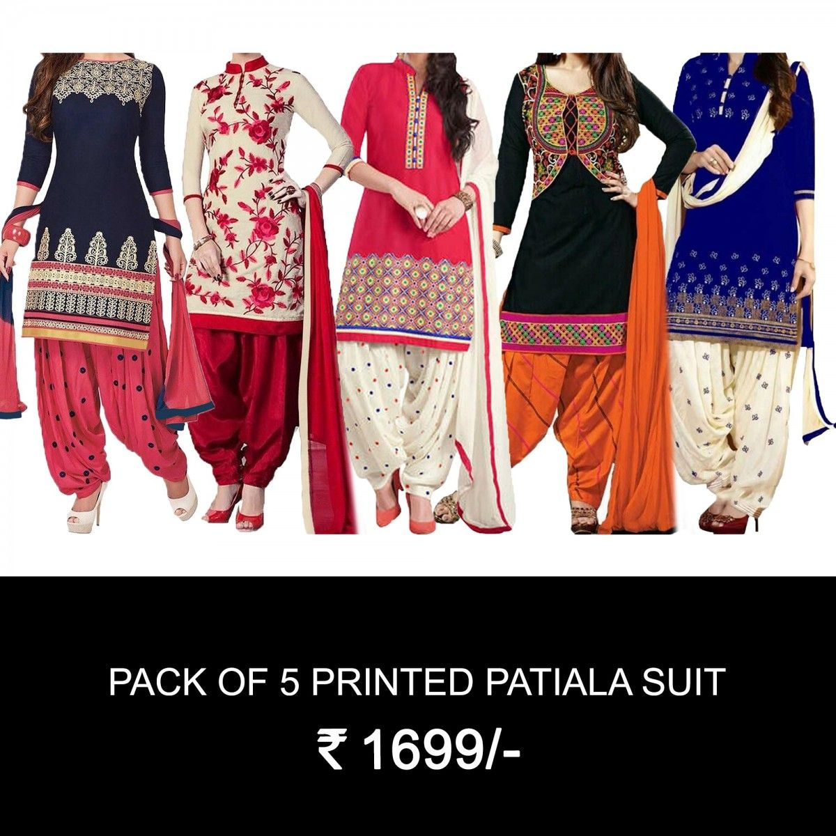 1c879d2554 Buy Pack Of 5 Printed Patiala Suit for womens online India, Best Prices,  Reviews - Peachmode