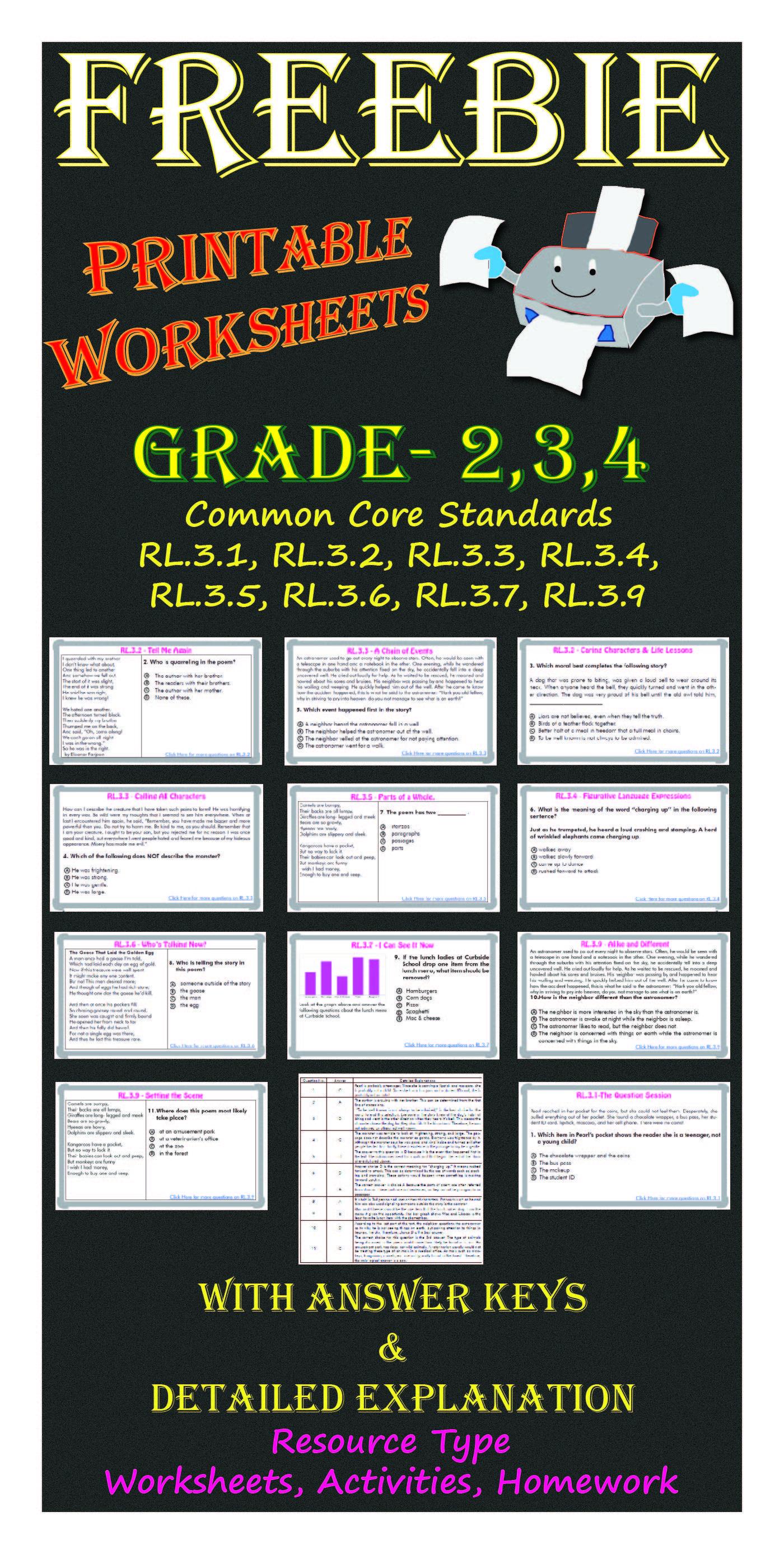 Reading And Language Arts Printable Worksheets Grade 3 Freebie Common Core Standards Rl 3 1 Rl Free Teaching Resources Printable Worksheets Elementary Ela [ 2775 x 1400 Pixel ]