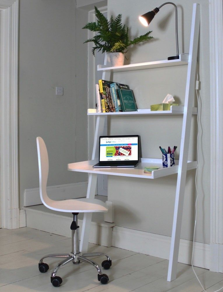 A Stylish Piece For Any Office This White Wooden Leaning Ladder Desk Has Been Designed To Sit Co White Desk Bedroom Desk In Living Room Desks For Small Spaces