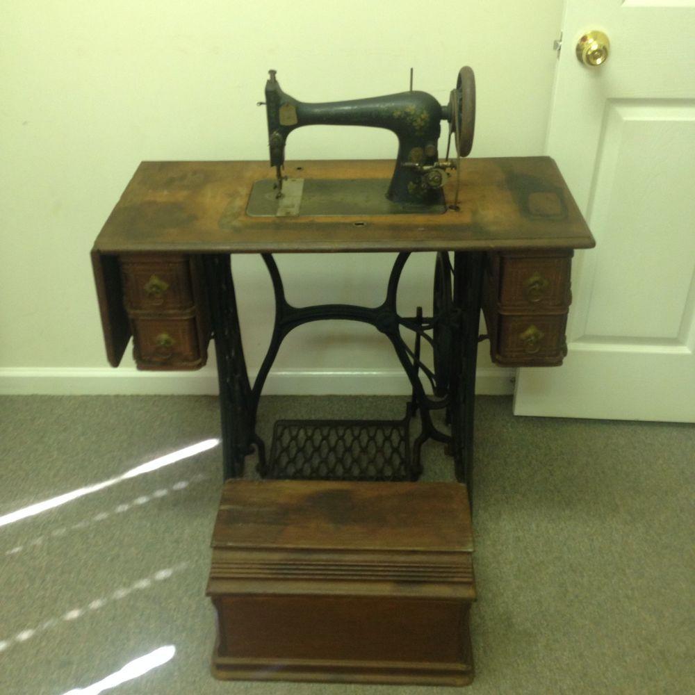 Singer Vintage Treadle Operated Sewing Machine Cabinet Wood Antique Peddle  Metal #Singer - Singer Vintage Treadle Operated Sewing Machine Cabinet Wood Antique
