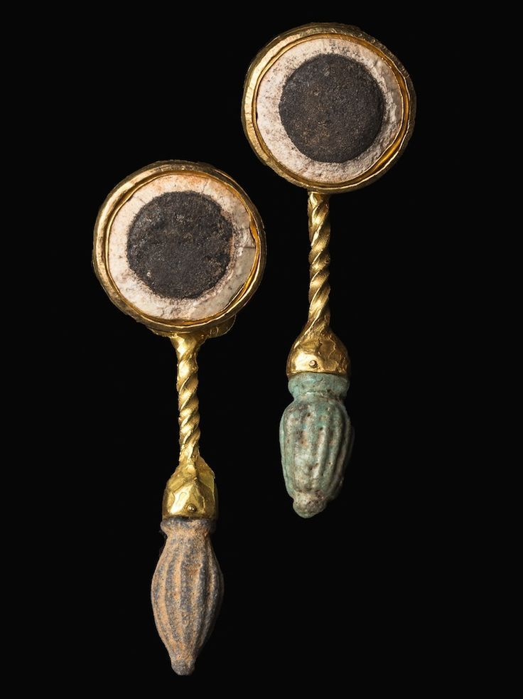 egypt egyptian mounted ancient from eyes pair very a with rare pin gold of earrings