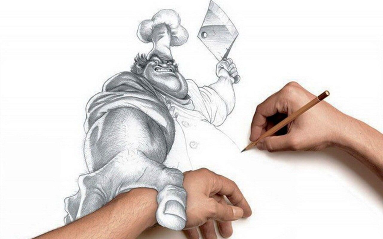 Chef grabbing your hand drawing by unknown creative art 3d pencil drawings