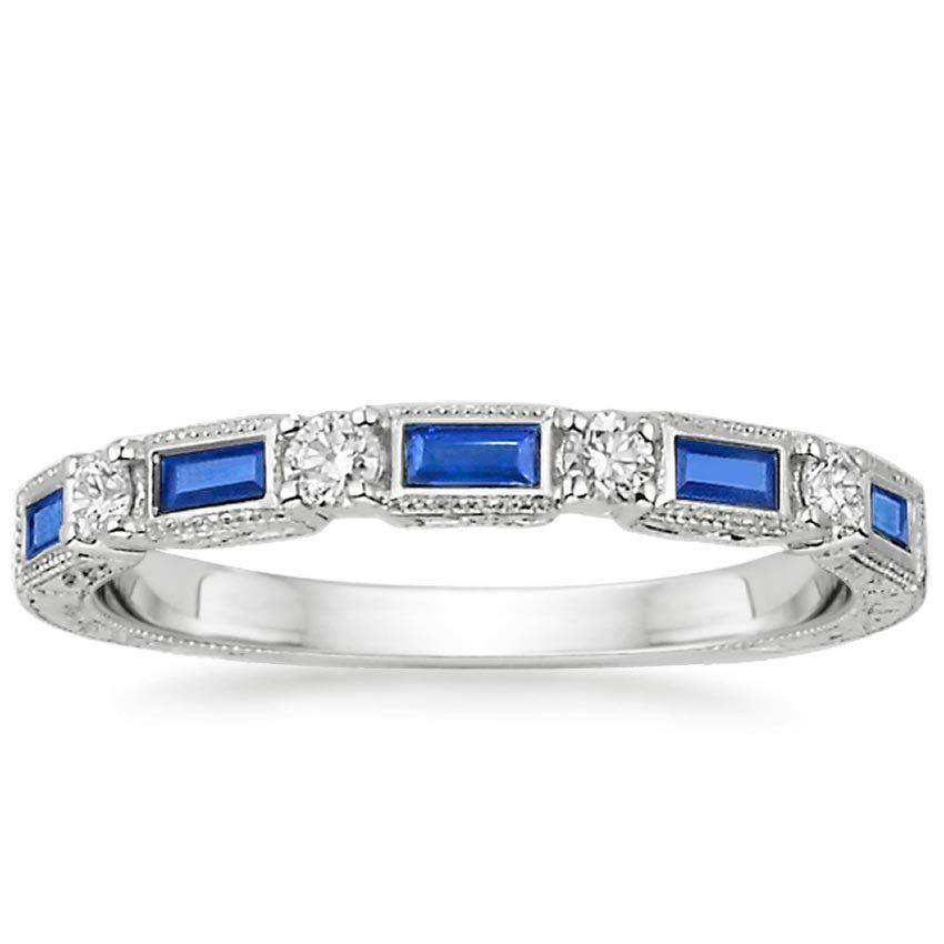 Vintage Sapphire and Diamond Wedding Ring 18K White Gold