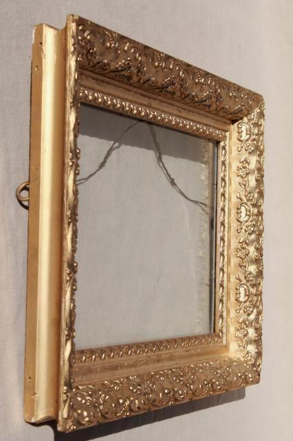 vintage wood frames, deep picture frames, ornate gesso painted gold ...