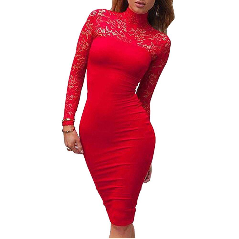 Turtleneck panjang lengan lace midi sexy club perban bodycon dress
