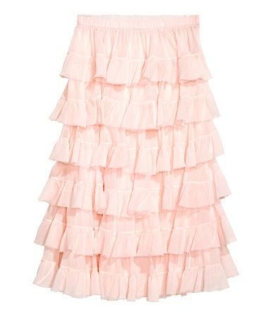Calf-length mesh skirt with crinkled chiffon tiers and a