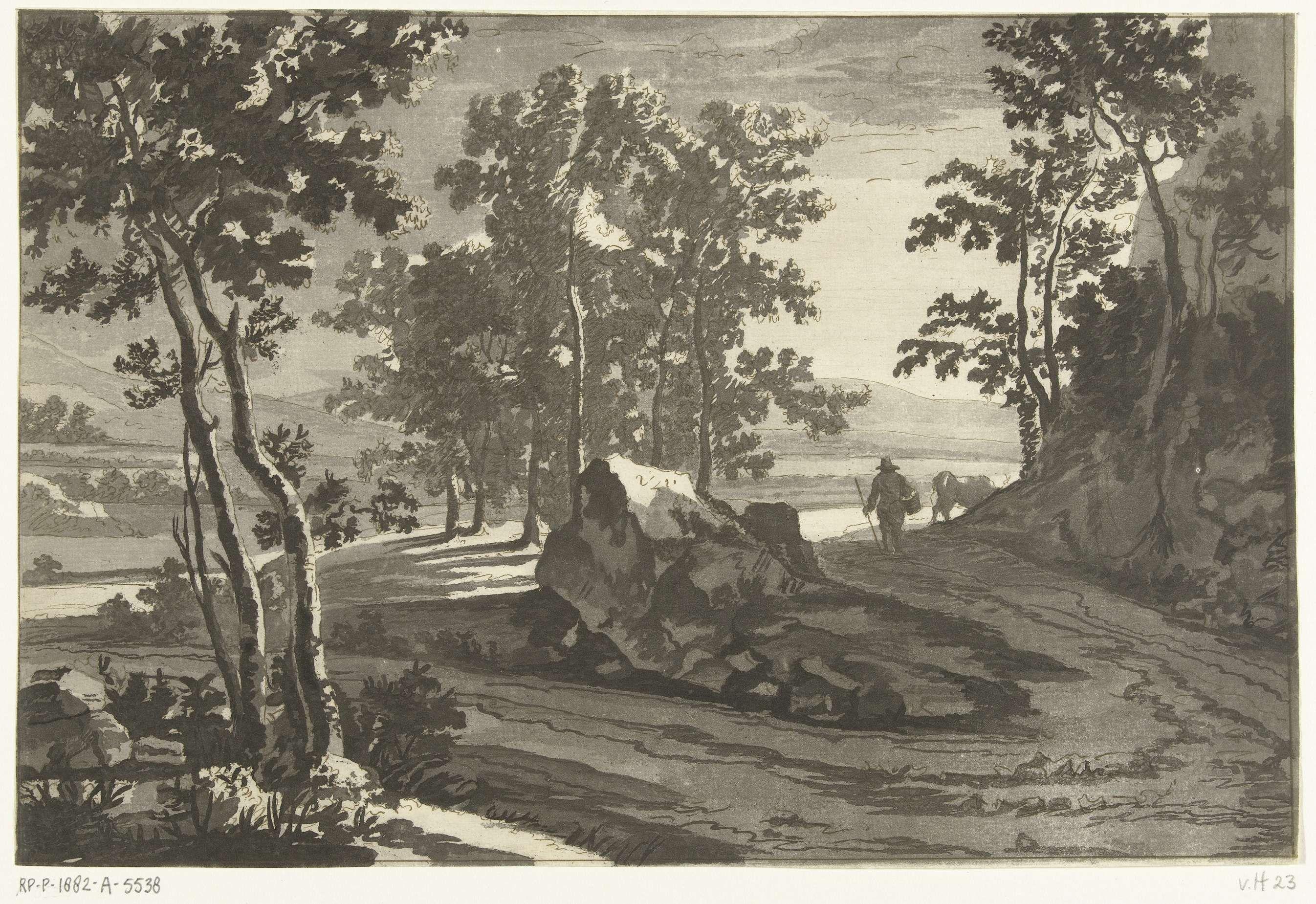 Cornelis Brouwer   Italianiserend landschap met herder, Cornelis Brouwer, Jan Both, 1741 - 1803  