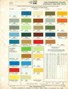 1976 Chevrolet Gmc Truck Paint Color Chart 76 Ppg Luv Paint
