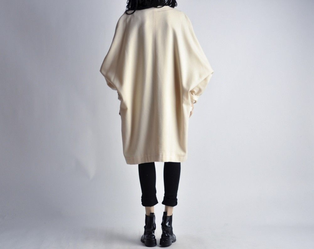 Vtg 80s Oversized Cream Wool Voluminous Batwing Kimono Jacket ...