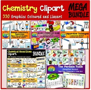 You'll find 5 sets of chemistry cliparts in this Bundle. You can click on the respective link to find out more about whats found in the sets:It contains over 330 graphics, at a discounted rate!Laboratory ApparatusSeparation TechniquesPeriodic Table (Simplified- First 20 Elements)Acids and BasesChemical Reactions BundleDo check out my other Chemistry Clipart:MatterElectrolysisThis product can be used both personally and commercially, but credit must be given to my store…