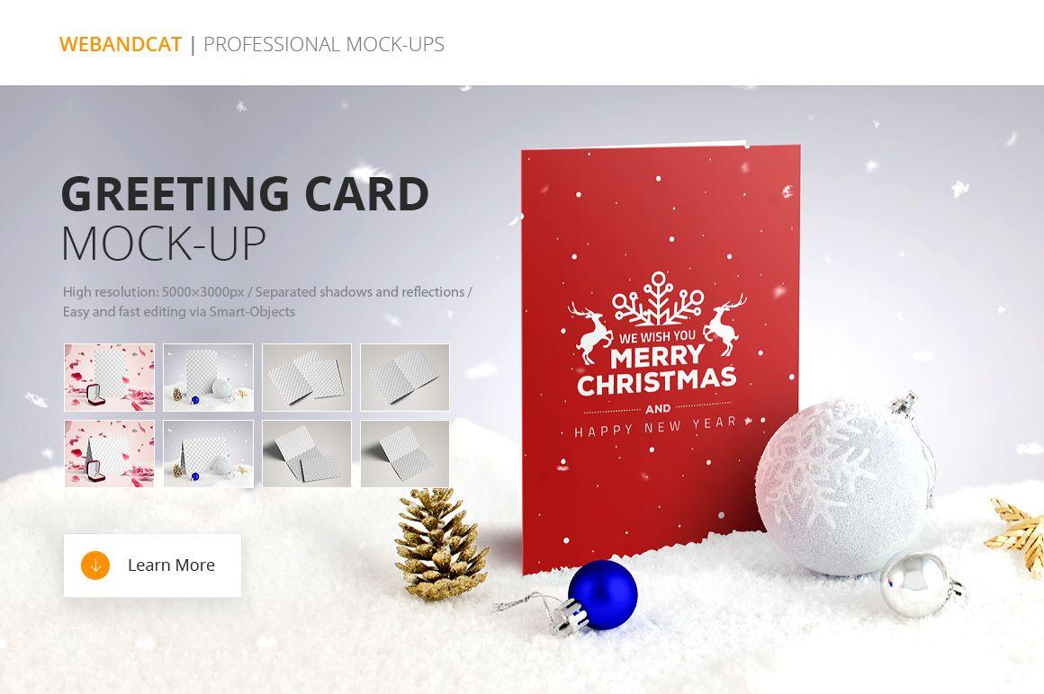 Invitation Greeting Card Mock Up On Behance Christmas Pinterest
