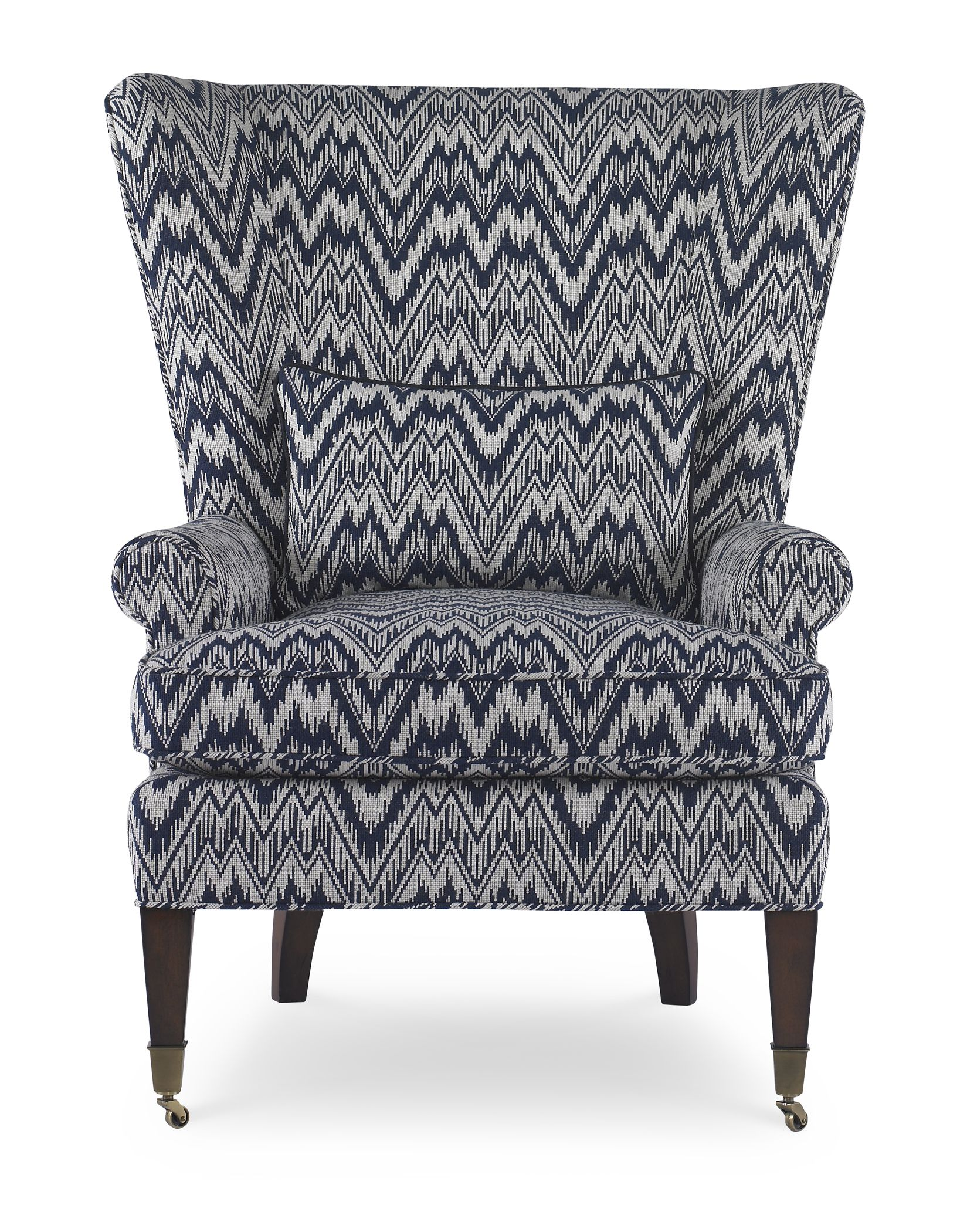 Blue And White Upholstered Chairs Green Chair Covers For Sale Pearson S 491 Wing In Peaarson Flamestitch