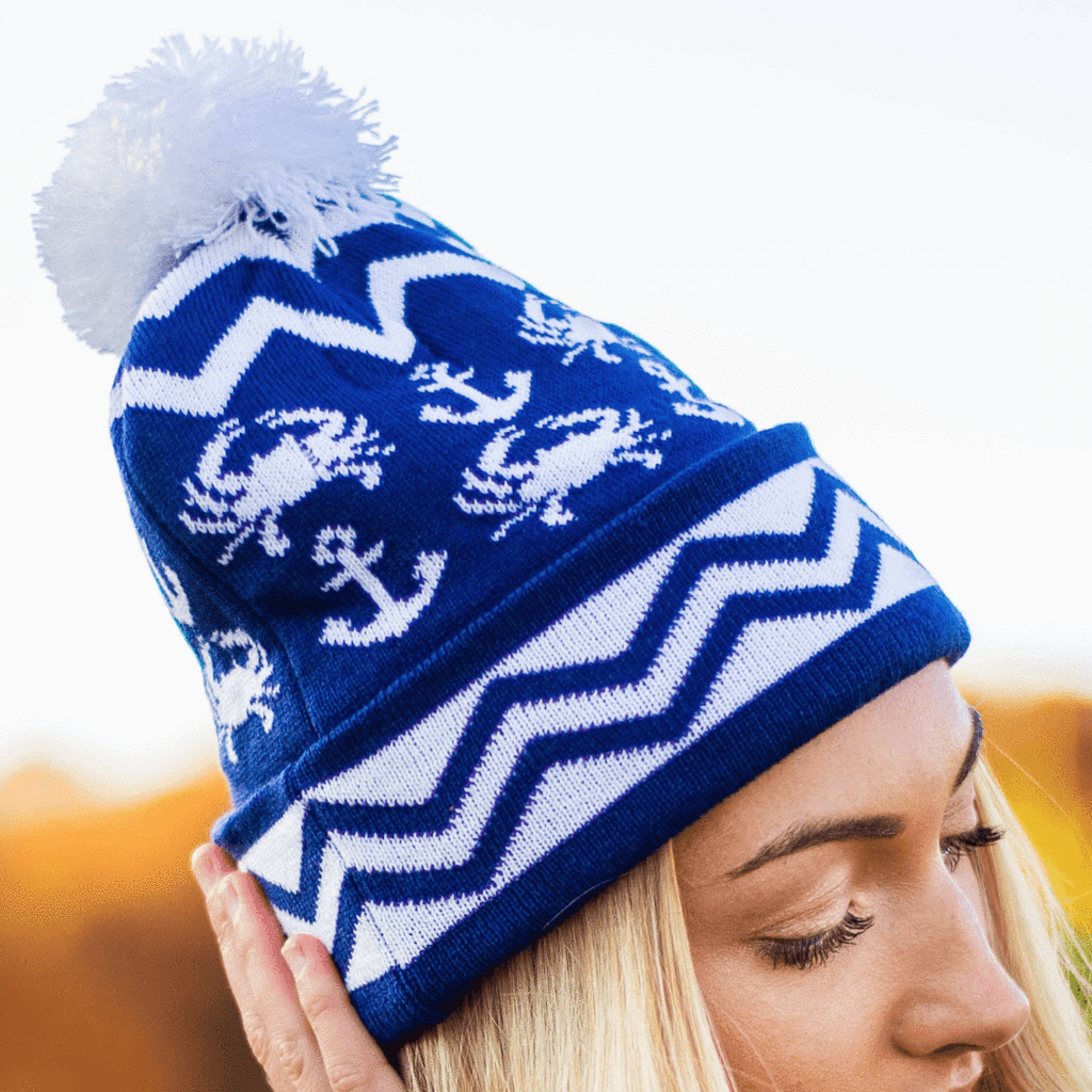 e8c8278c Chevron Crab and Anchor Design (Blue w/ White Pom) / Knit Beanie Cap  #Beanies-+-Ski-Hats #bulk-hide
