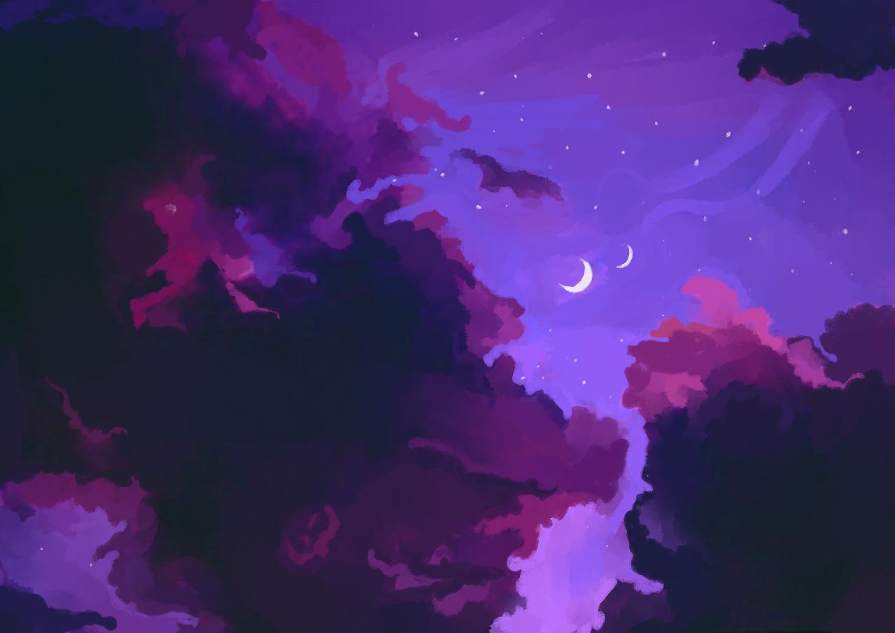 freetoeditspace night clouds purple aesthetic anime