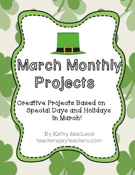 This is a ten page document including the cover page.  Creative project options for students to choose from are based on eight March holidays and themes.  (National Women's History Month, St. Patrick's Day, First Day of Spring, etc.)  These projects are appropriate to use as independent study, extra credit opportunities, in-class extension activities, group projects and more!