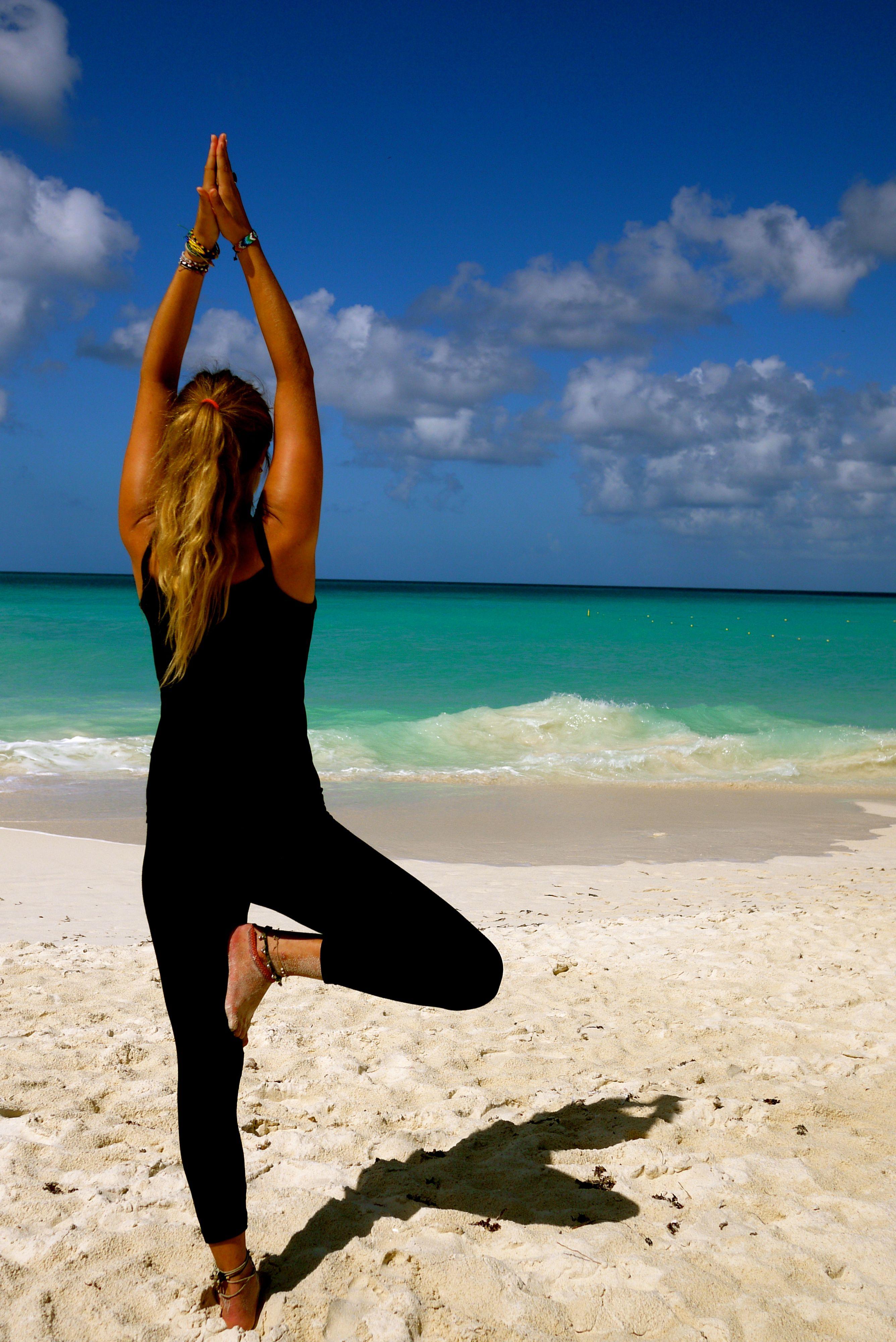Yoga at Manchebo Beach Beach yoga, Yoga retreat, Yoga