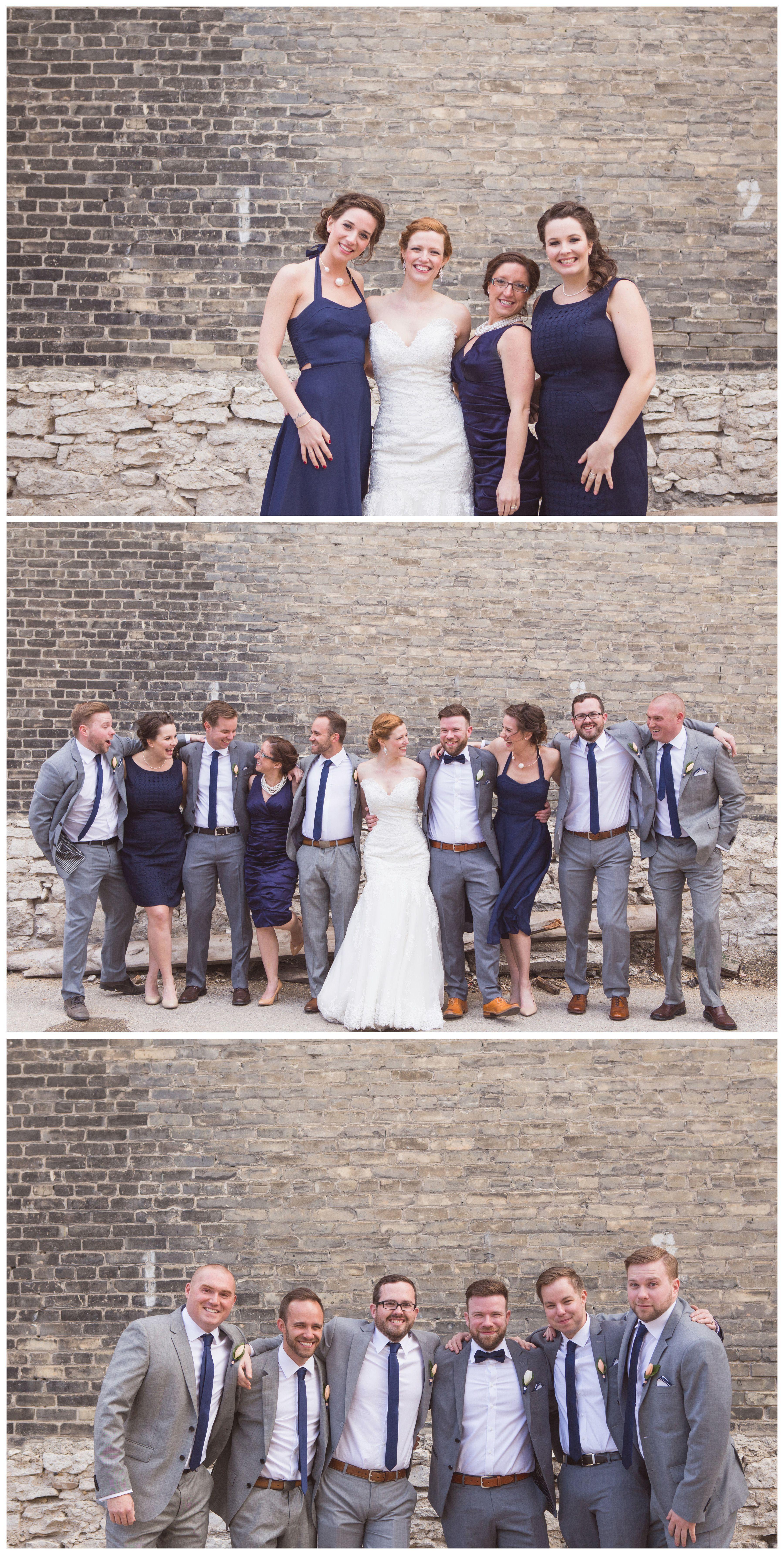 Mismatched uneven bridal party navy blue bridesmaid dresses