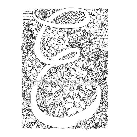 instant digital download - adult coloring page - letter E | Adult ...