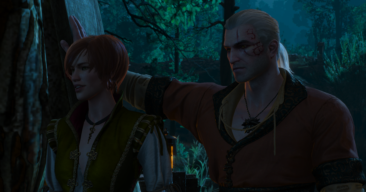 Geralt and Shani wait for a couple to leave the dock