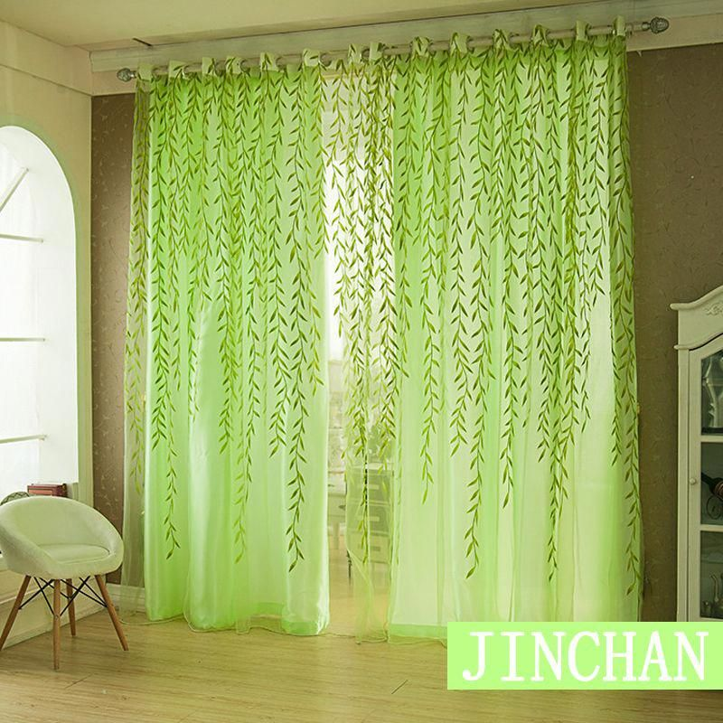 Modern green willow Blackout Window Curtains Drapes Shades