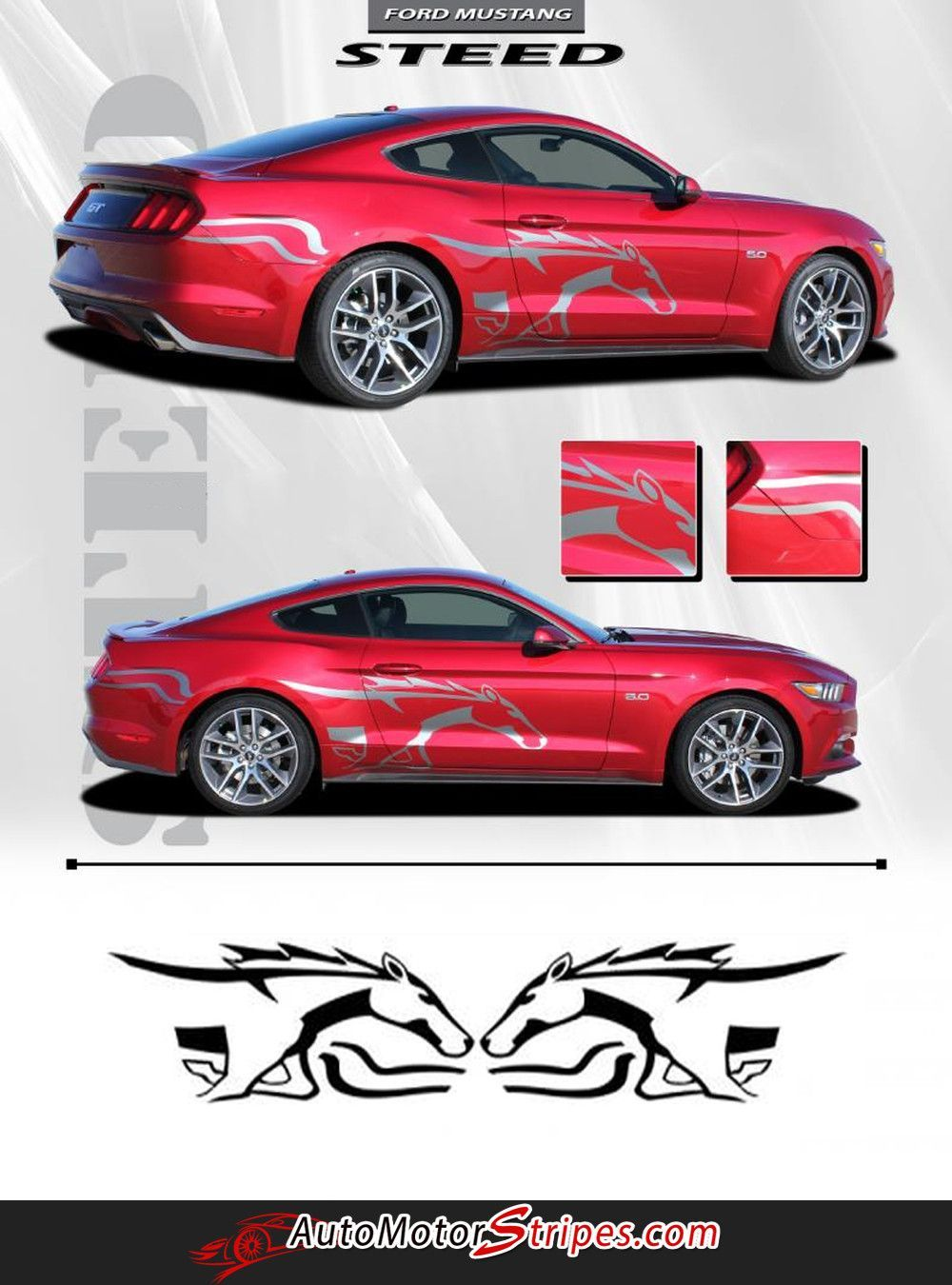 2017 2016 Ford Mustang Pony Steed Horse Outline Side Stripes Vinyl Graphics 3m Decals