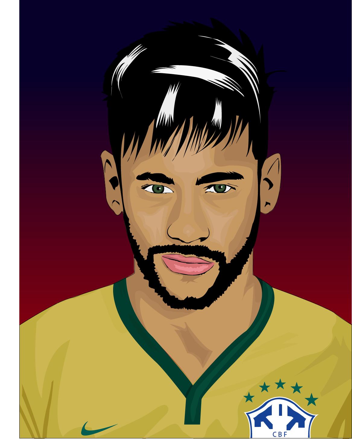 Neymar Jr Drawn In Cartoon Style Footballers Neymar Jr Neymar
