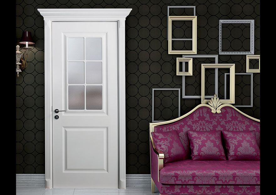 Casabella puerta de madera interior con acabado blanco y - Puertas de madera con cristal ...