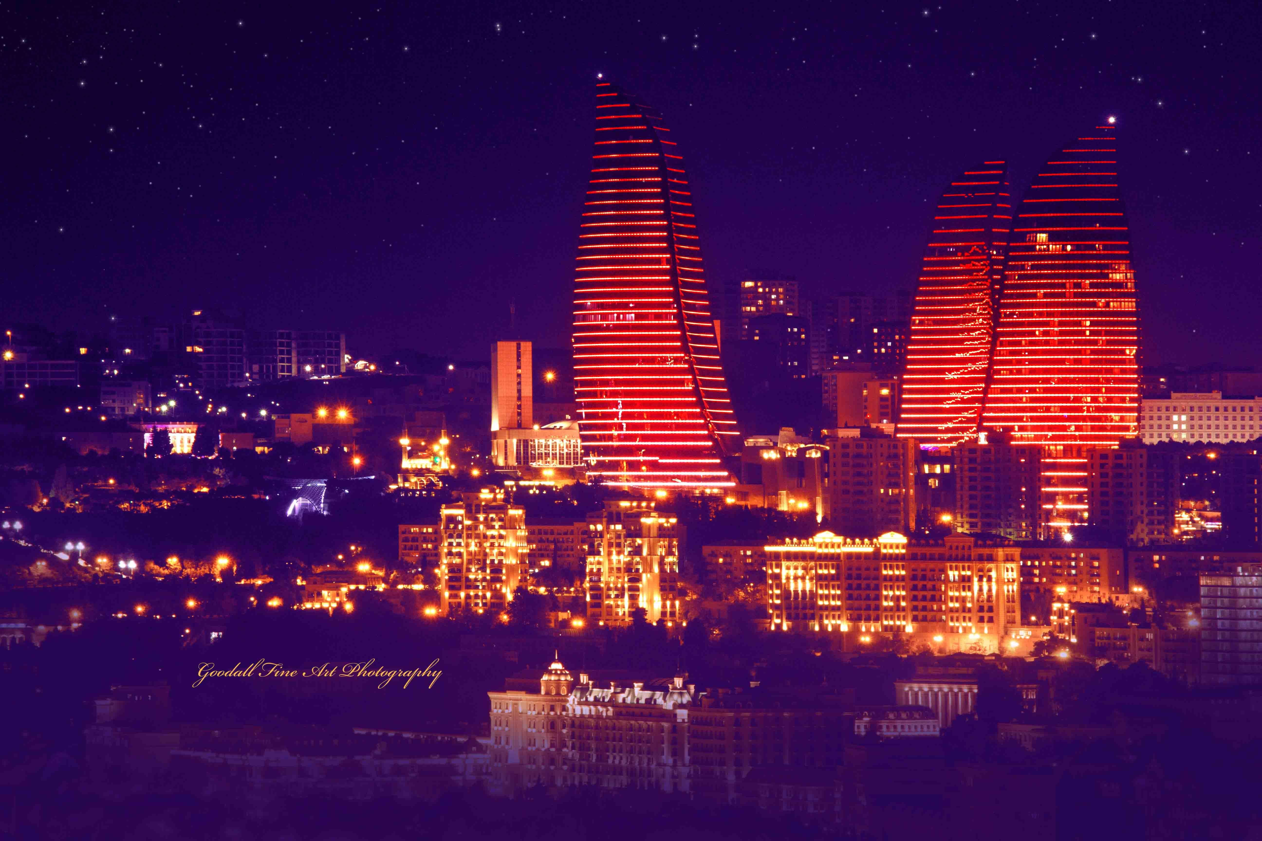 Gilded Nights Baku Azerbaijan Https Www Facebook Com Goodallphoto Baku Azerbaijan Flametowers Tower Highrise Sky Travel Art Cityscape Art Photography